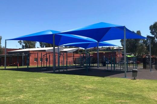Frame shade sail structure Hewett Primary School Light Regional Council SA Spotless DPTI