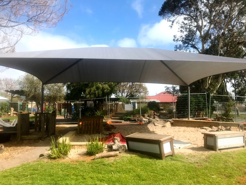 framed shade sail structure aldinga community kindergarten department of planning dpti south australia weathersafe builder sa 2
